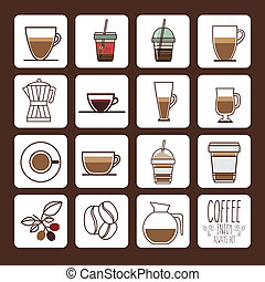 Coffee design over brown background, vector illustration