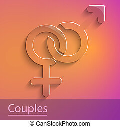 Couples female male sign glass icon vector illustration