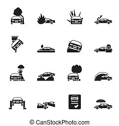 transportation insurance icons - Silhouette car and...
