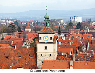 Historic tower in Rothenburg ob der Tauber - Old tower of...