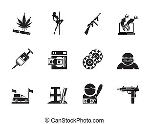 mafia, organized criminality icons - Silhouette mafia and...