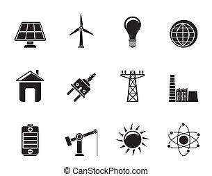 power, energy and electricity icons - Silhouette power,...
