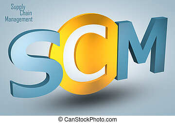 Supply Chain Management - acronym 3d render illustration...