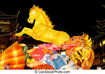 Chinese New Year festivals - Shanghai Yu Garden exhibit of...