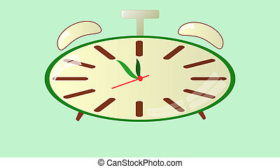 alarm clock - clock on a green background showing five...