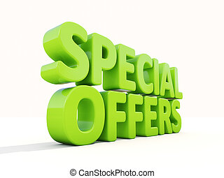 3d Special offers - Special offers icon on a white...
