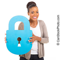 african american girl with paper lock - pretty african...