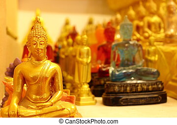 Thousand of small Buddha images in church