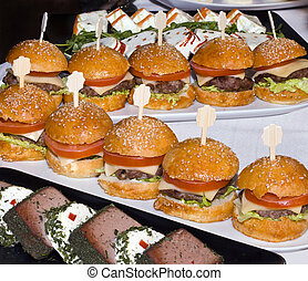Mini Burgers in a Row