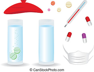 Medical Set - Cartoon pills, thermometer, glass of water,...