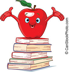 Apple character on pile of books - Red apple character on...