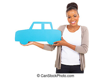 african woman holding a car symbol - gorgeous african woman...