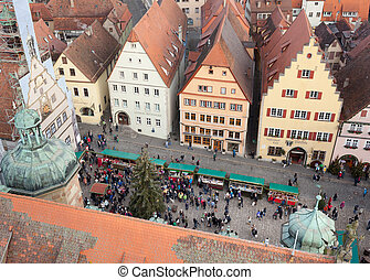Christmas Market square of Rothenburg ob der Tauber, Germany