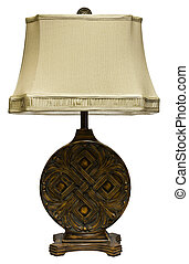 Table Lamp with Shade - Ornate Oak Carved Table Lamp with...