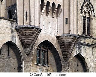 Detail of the famous Palais des Papes, Avignon, France -...