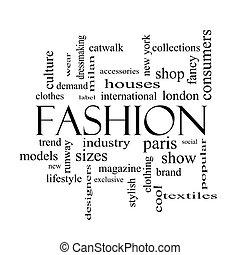 Fashion Word Cloud Concept in black and white with great...