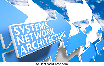 Systems Network Architecture 3d render concept with blue and...