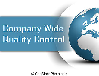 Company Wide Quality Control concept with globe on white...