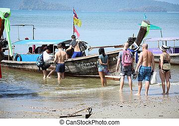 Traveler came to travel in high season b - KRABI,THAILAND -...