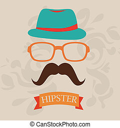 Hipster design over beige background, vector illustration