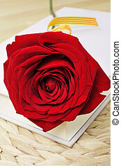 red rose and book, for Saint Georges Day in Catalonia, Spain...