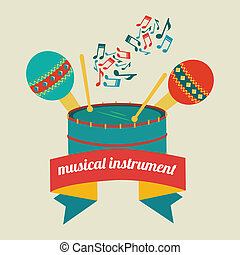Music design over beige background, vector illustration