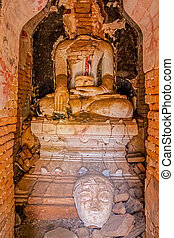 Indein, Inle Lake - Indein ruined statue of the Buddha at...