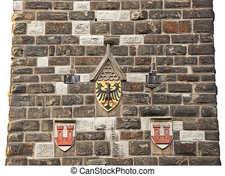 Eagles emblem on the wall in Rothenburg od der Tauber -...