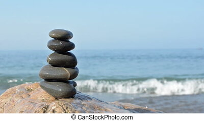 Zen stones on a beach - Beautiful seascape with zen stones...