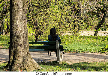 Lonely girl - This photo was taken in a botanical garden