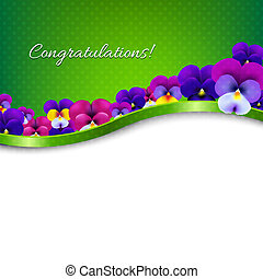 Congratulations Card Flowers Pansies With Gradient Mesh,...