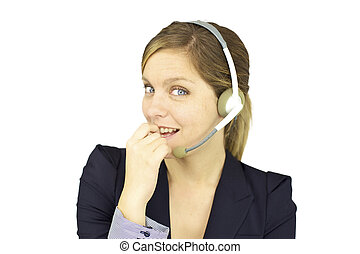Smiling happy woman with headset - Cute young blond woman...