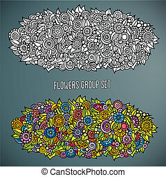 flowers group set in different of color