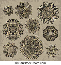 Set of ornamental vintage Floral elements