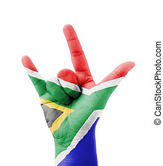 Hand making I love you sign, South Africa flag painted,...