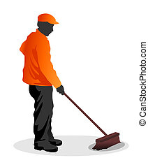 wipe - abstract illustration of road sweeper at work