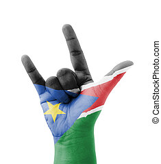 Hand making I love you sign, South Sudan flag painted, multi...