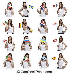 Attractive woman shows european flags