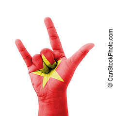 Hand making I love you sign, Vietnam flag painted, multi...