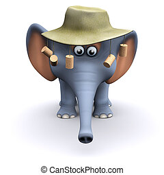 3d Australian elephant - 3d render of an elephant wearing an...