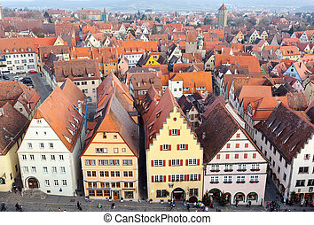 Aerial panorama of the Old Town, Rothenburg ob der Tauber -...