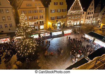Christmas Market by night in Rothenburg ob der Tauber -...