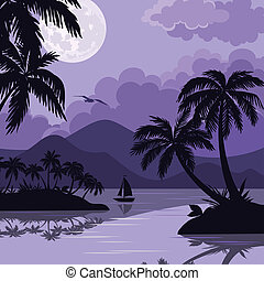 Tropical sea landscape with moon and palm - Exotic tropical...