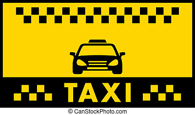 taxi background with cab silhouette