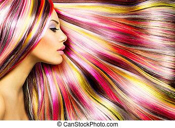 beleza, moda, modelo, menina, coloridos, tingido, cabelo