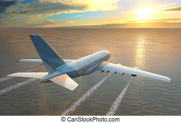 Plane flies over the sea at sunset
