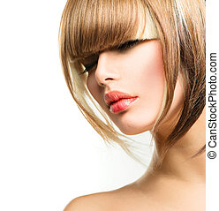 Beautiful Fashion Woman Hairstyle for Short Hair. Fringe...