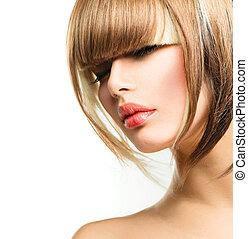 bonito, moda, mulher, penteado, shortinho, cabelo, franja,...