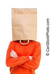 Man in paper bag on head isolated on white background