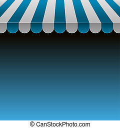 Blue and White Strip Shop Awning with Space for Text.Vector...